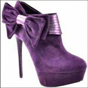 Bakers Shoes - Bakers Jisel Purple Bow Suede Platform Heels C3413